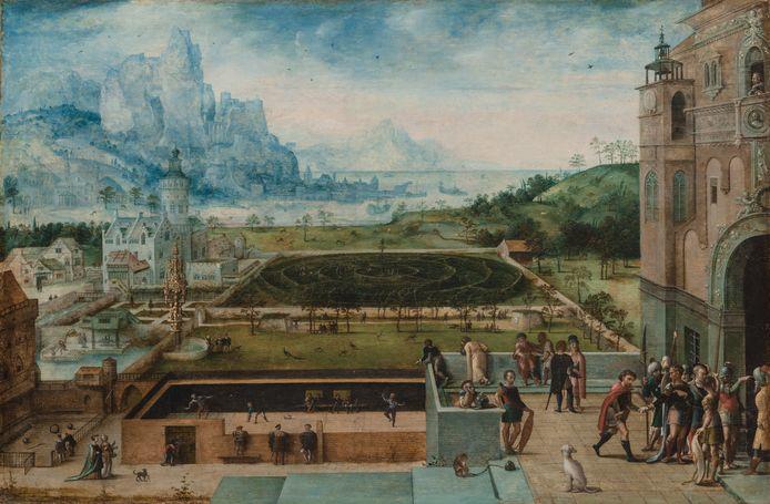 Panoramisch uitzicht op een Renaissancepaleis met David en Bathseba, door Lucas Gassel.