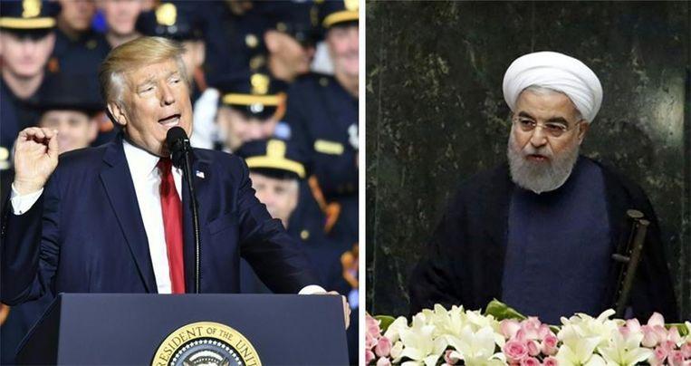 Volgens Rohani (R) is er voor Trump (L) geen enkele president geweest die zo ingaat tegen het internationaal recht en de internationale conventies.