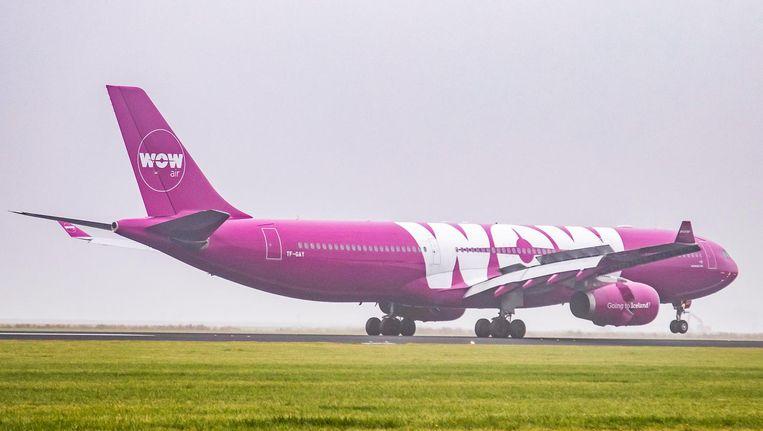 Een A330 van Wow Air. Het IJslandse bedrijf ging bijna kopje onder Beeld NurPhoto via Getty Images