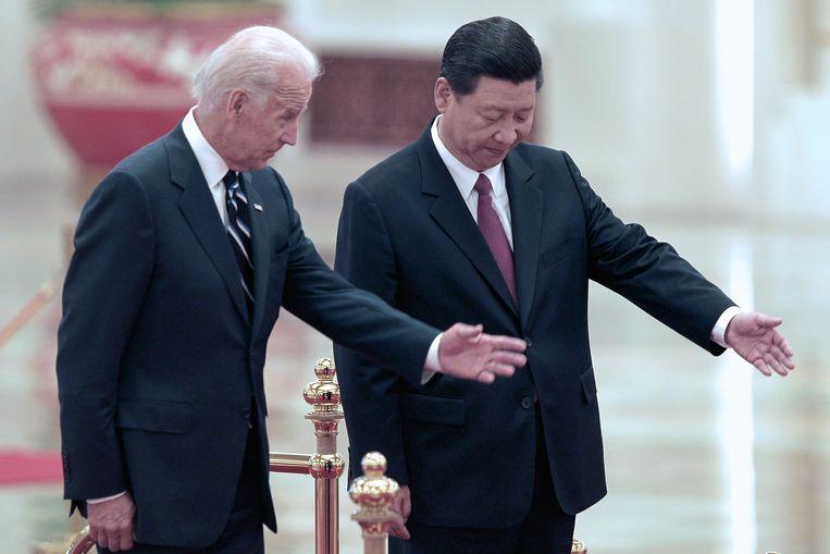 Xi Jinping met toenmalig vicepresident Joe Biden in 2011. Beeld EPA
