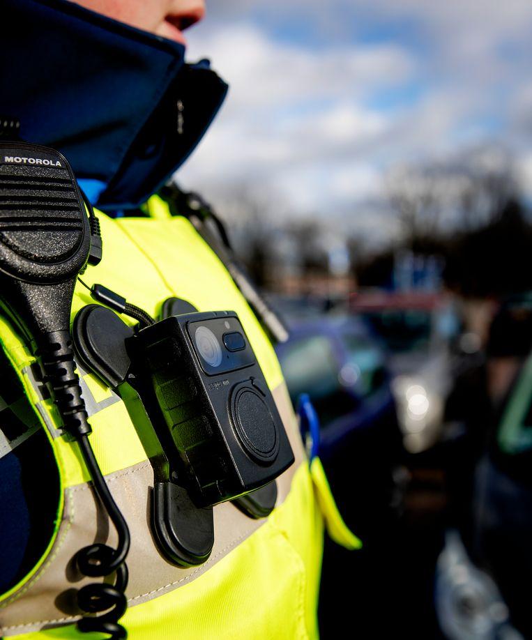 Een bodycam op het uniform van een boa in Breda.  Beeld ANP XTRA