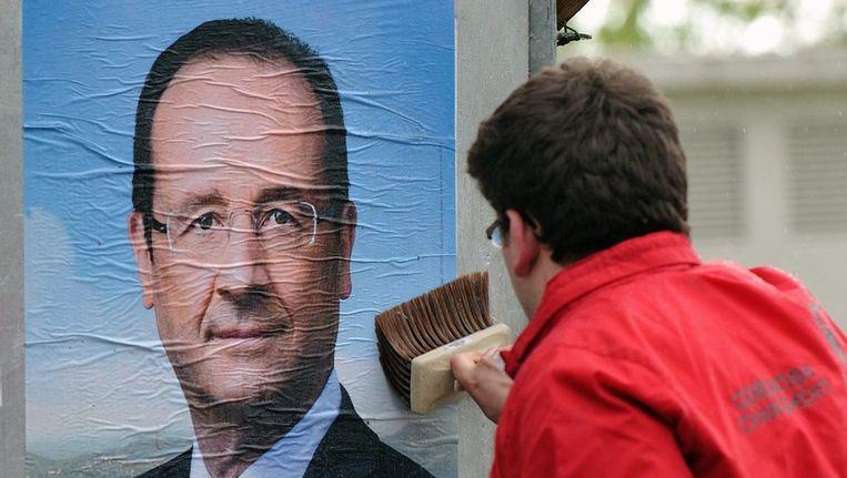 Verkiezingsposter van Hollande Beeld afp