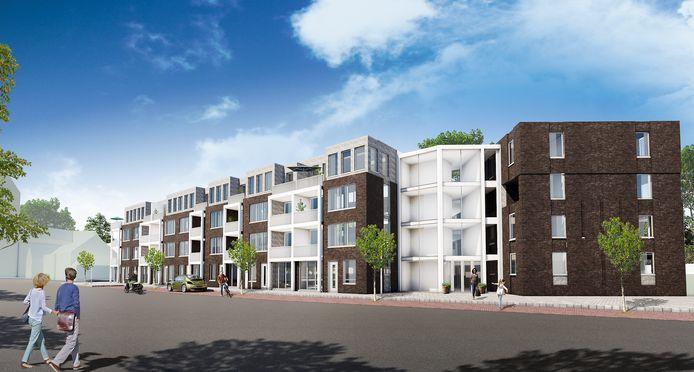 Links een impressie van de veertig sociale huurappartementen van Woningstichting Compaen, gezien vanaf de Hoofdstraat in Mierlo-Hout.