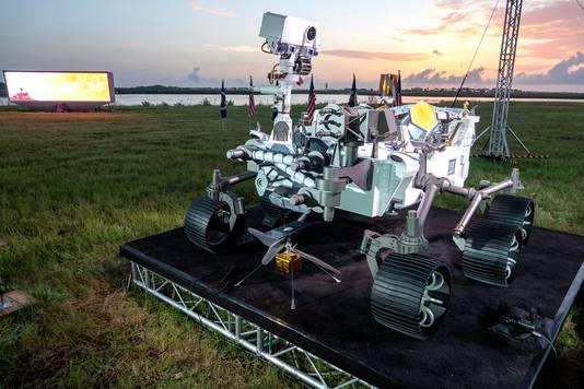 Een model van de Perseverance aan het Kennedy Space Center in Florida.