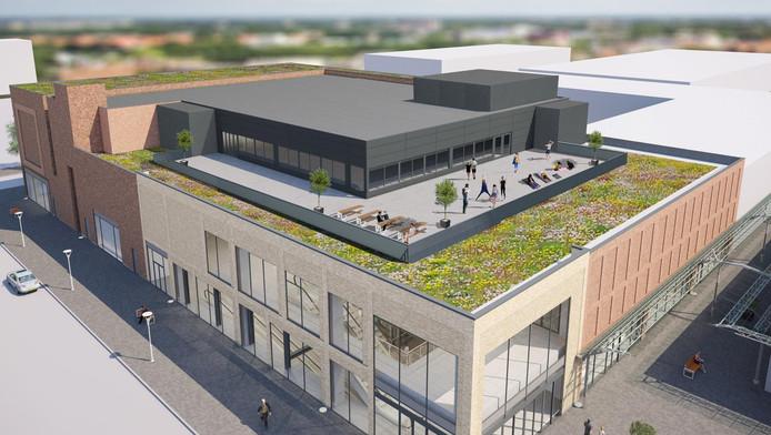 Een impressie van het V&D-pand in Amsterdam-Noord. Het krijgt een nieuwe gevel en op het dak een extra verdieping voor een sportschool