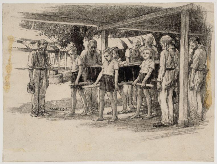 Johan Gabriëlse, Een begrafenis in Kamp 7 te Ambarawa, 1945. Beeld Museon