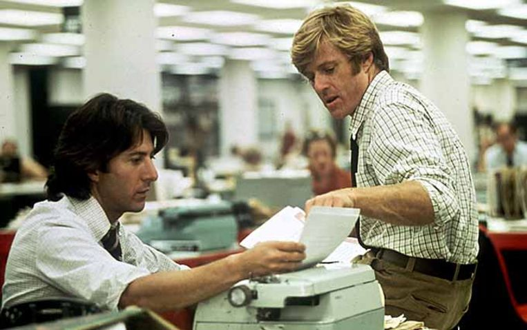 Dustin Hoffman en Robert Redford in All the Presiden's Men. Beeld