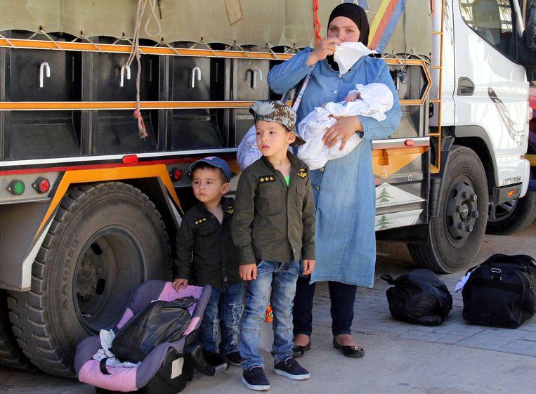 Syrische vluchtelingen. Beeld AFP