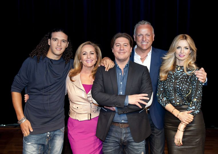 2013-04-18 AMSTERDAM - (VLNR) Juryleden Ali B, Angela Groothuizen, presentator Martijn Krabbe, Gordon en Candy Dulfer voor de nieuwe serie X-factor. ANP KIPPA ROBERT VOS Beeld ANP Kippa