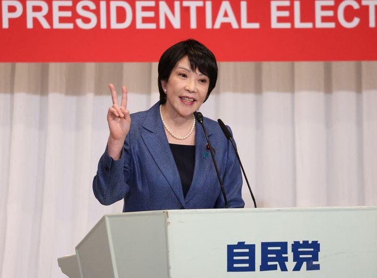 Een campagnespeech van Sanae Takaichi op 17  september. Op 29 september kiest de LDP een nieuwe leider die vrijwel zeker premier wordt. Beeld Hollandse Hoogte / AFP