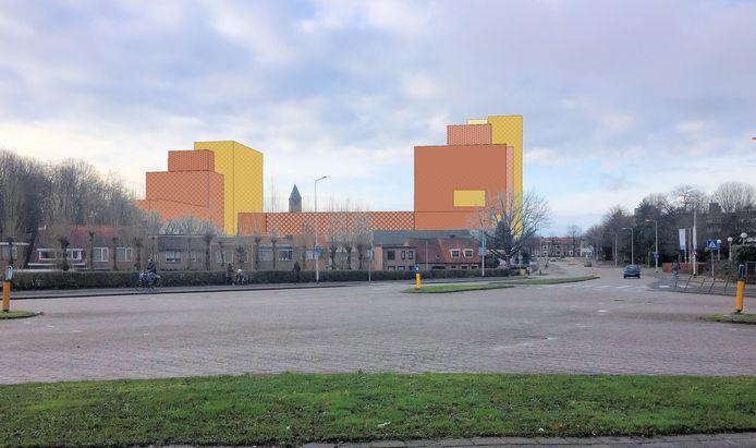 Bewoners maakten zelf deze artist impression om aan te geven hoe de nieuwbouw afsteekt tegen de lage huisjes van de Galgenbaan.