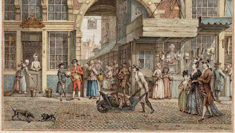 De Grote Vispoort aan de Vijgendam (nu: de Dam) met rechts een pruikenwinkel. H.P. Schouten, ca. 1796 Beeld Stadsarchief Amsterdam