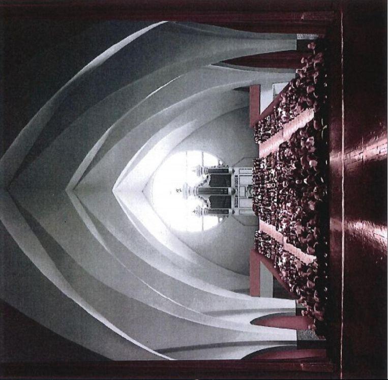 Een simulatiebeeld van de uitschuifbare tribune achteraan de kerk.