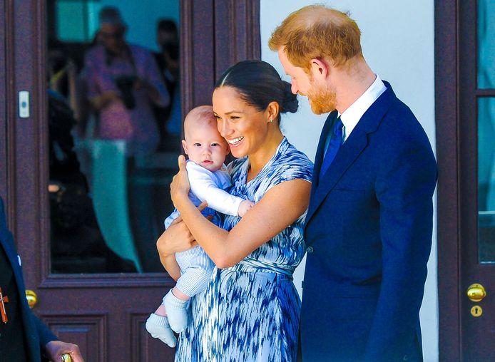 Prins Harry en Meghan Markle samen met hun zoontje Archie.