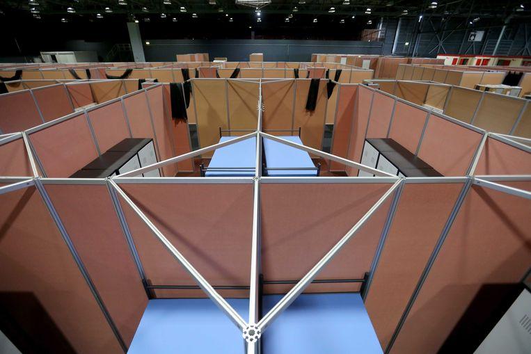 Het WTC in Leeuwarden, ingericht als tijdelijke opvang voor asielzoekers. Beeld ANP