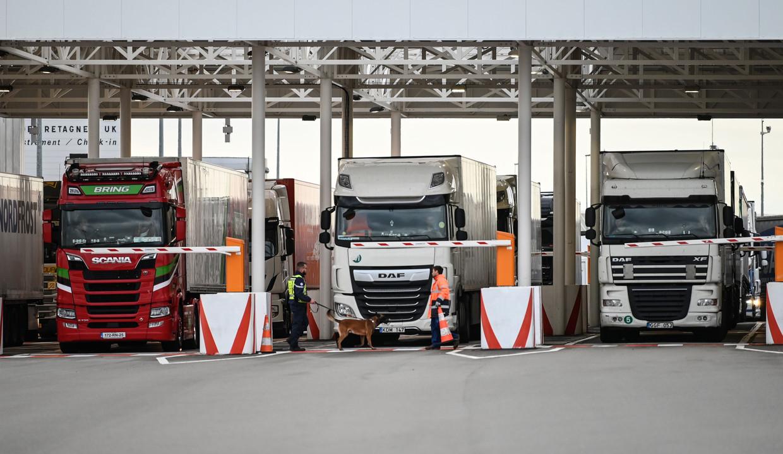 Een medewerker van Eurotunnel controleert met zijn hond vrachtwagens op weg naar het Verenigd Koninkrijk. Beeld AFP