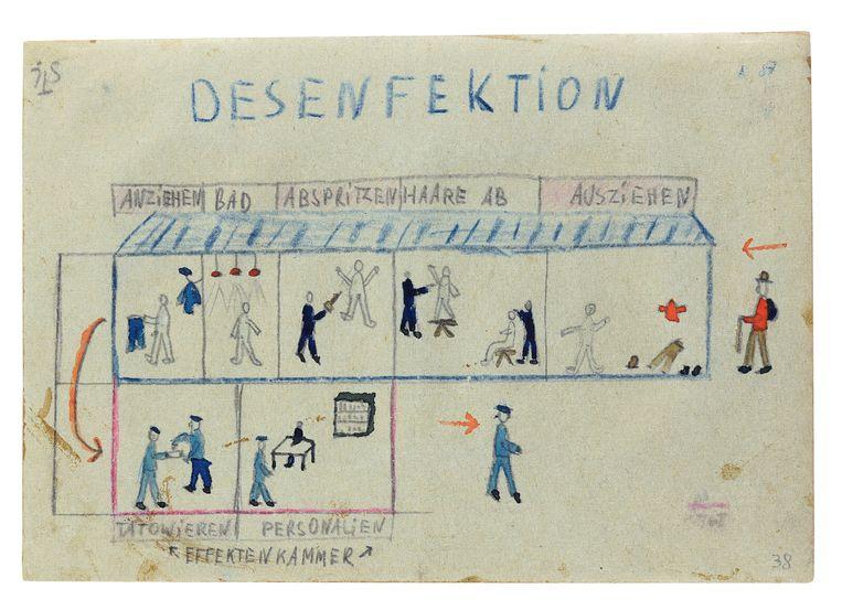 De tekeningen van Geve lezen als een soort strip over het leven in het kamp. Beeld -