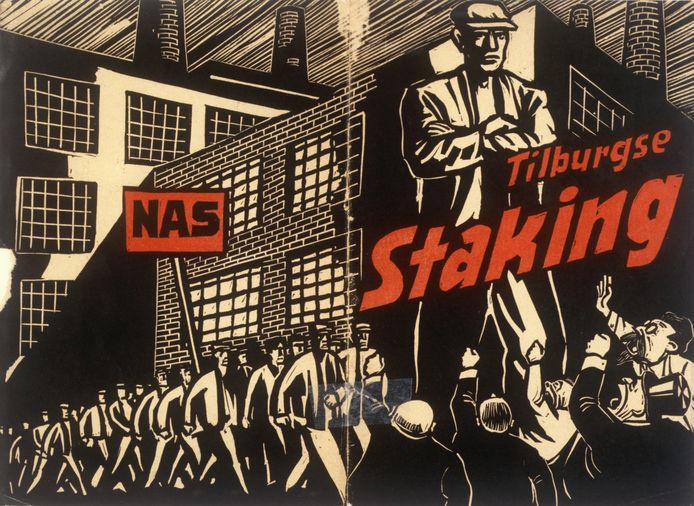 Omslag van een brochure bij de grote textielstaking in 1935. Deze was van het Nationaal Arbeids Secretariaat, een radicaal-linkse vakcentrale. De Tilburgse stakingsleiding hield die zoveel mogelijk buiten de deur.