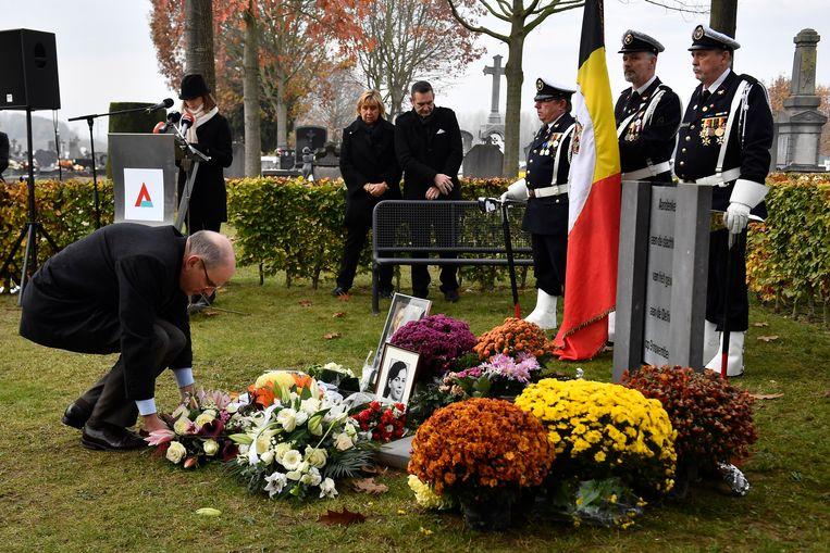 Minister Geens tijdens de herdenking. Beeld BELGA