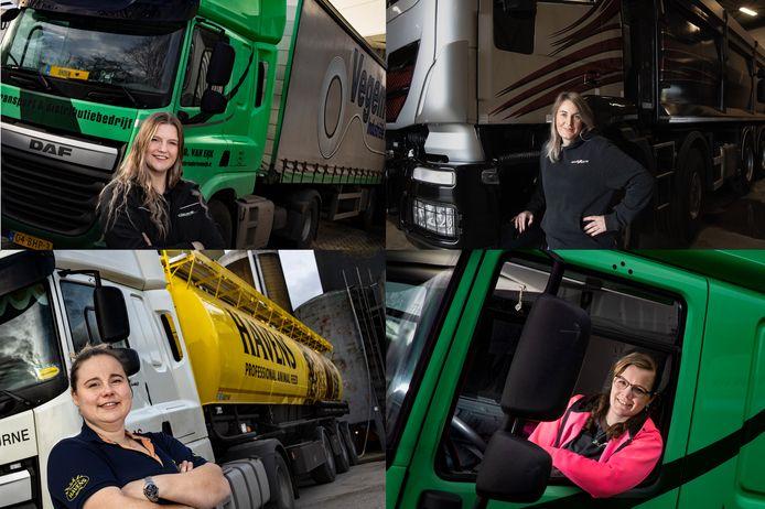 Vrouwelijke vrachtwagenchauffeurs uit de regio Eindhoven. Van linksboven, met de klok mee: Anouk van Deurssen, Sabine Verstappen, Angela Claessens en Natasja Martens