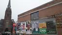 Verkiezingsbord met Haarense kopstukken van de 7 partijen in Oisterwijk