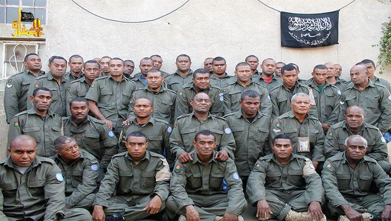 Een foto van de gijzelaars die het Nusra Front op 30 augustus openbaar maakte Beeld AP