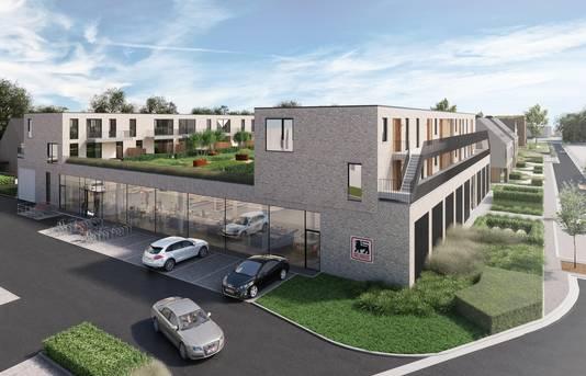 Een toekomstbeeld van de verswinkel van Delhaize, met daarboven appartementen.