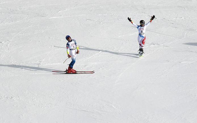 Lara Gut-Behrami en Mikaela Shiffrin (links).