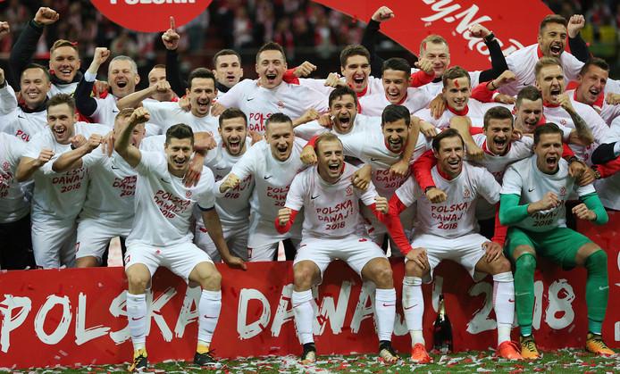 De spelers van Polen vieren de plaatsing voor het WK 2018.