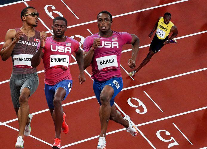 Vlnr, onder anderen André de Grasse, Trayvon Bromell en Ronnie Baker strijden in Tokio om de erfenis van Usain Bolt.