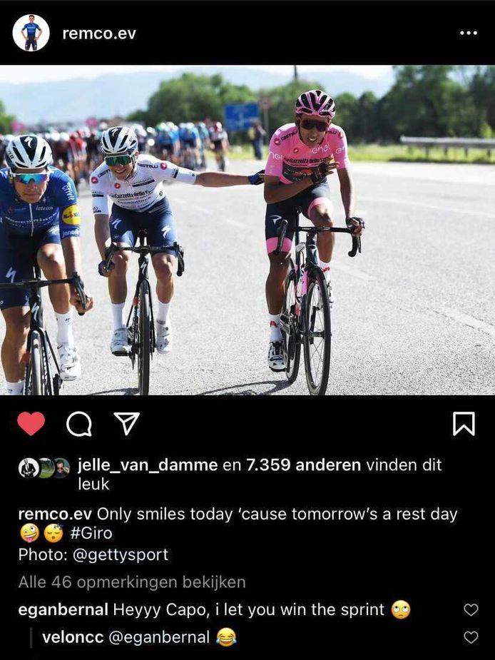 Bernal en Evenpeol dollen op Instagram.