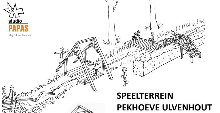 Een impressie van hoe de nu nog droge sloot en de oude haag straks bij de speeltuin worden betrokken met een slingertoestel, een bruggetje en een waterpomp.