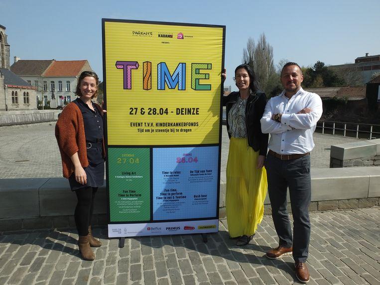 De organisatoren van TIME: Karen Houthooft, Laurence Hauttekeete en Chris Verghote.