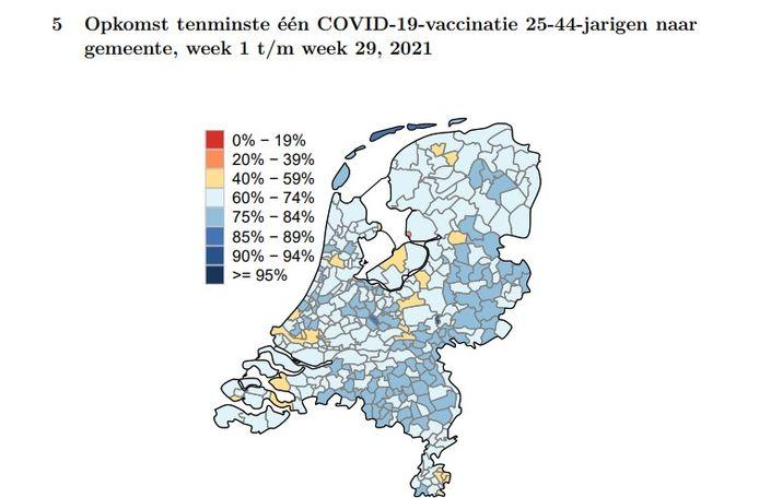 Percentage 25- tot 44-jarigen met tenminste één coronavaccinatie in Nederlandse gemeenten.