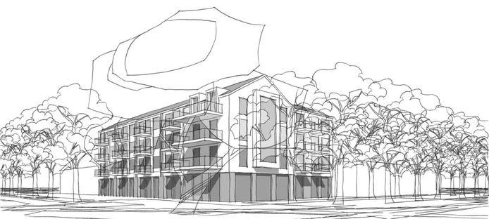 Impressie van het appartementencomplex.