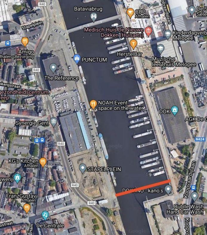 De Matadibrug komt te liggen ter hoogte van de rode lijn.