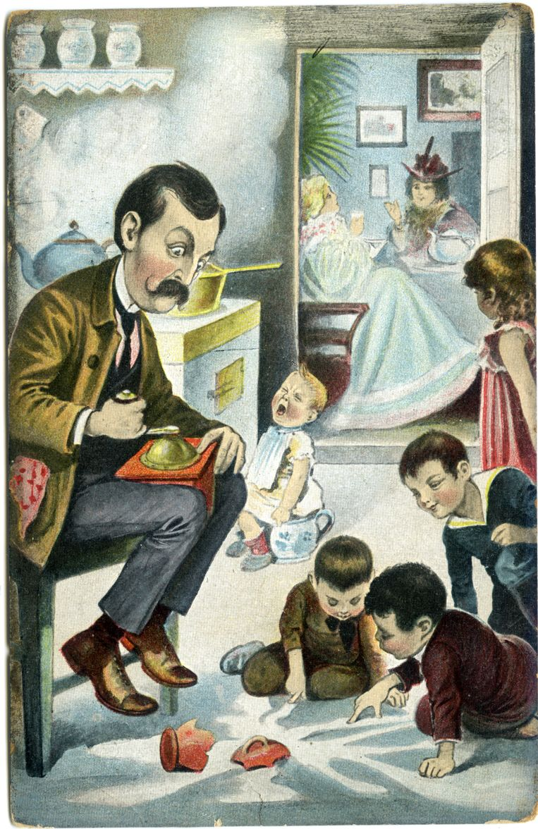 Wanneer vader zich moeit, loopt alles mis. Postkaart, begin 20ste eeuw.  Beeld AVG-Carhif, Brussel