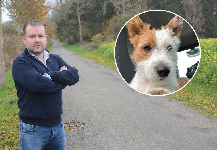 Kristoff Van Havere op de plaats waar Dribbel door een jogger werd doodgestoken in Waasmunster. Beeld Kristof Pieters