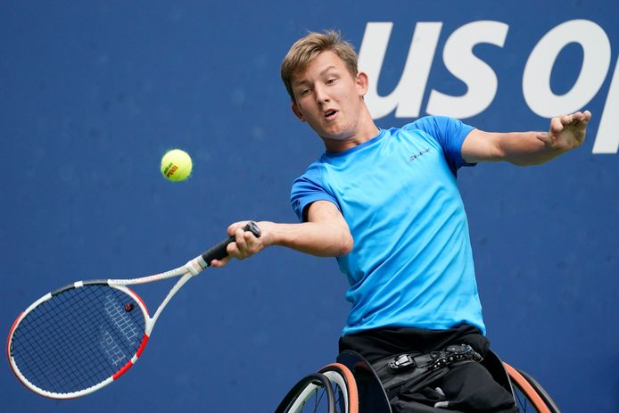 Niels Vink uit Helmond tijdens de enkelspelfinale van de US Open. Hij verloor van de nummer 1, Dylan Alcott.