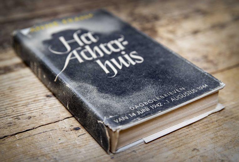 Het oorlogsdagboek Het Achterhuis van Anne Frank in het veilingshuis Burgersdijk & Nierman.  Beeld ANP