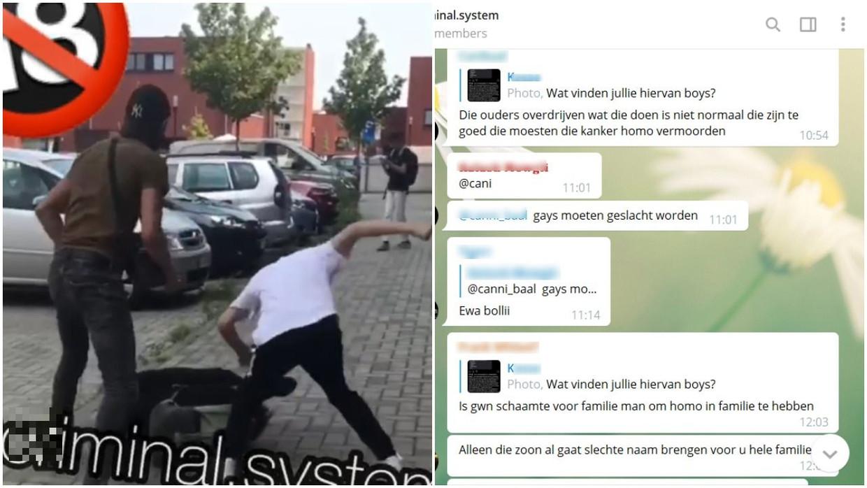 Het filmpje uit Leuven dateert van 12 augustus, rechts screenshots van de chatgesprekken op Telegram. Beeld JSL