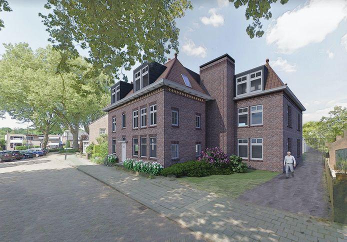Een impressie van de voorzijde van de nieuwe woonzorgvilla aan de Gogelstraat in Vught.