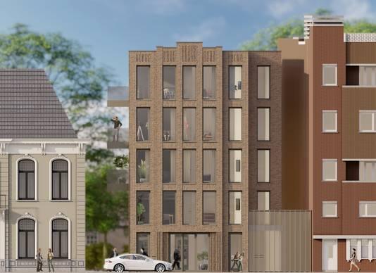 Het nieuwe woongebouw: een commerciële plint met bovenop vier woonlagen.
