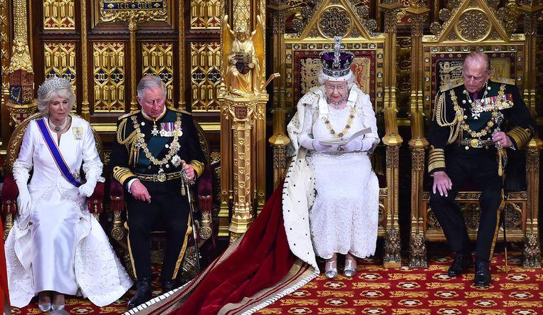 Koningin Elizabeth bij de Queen's Speech in 2015.