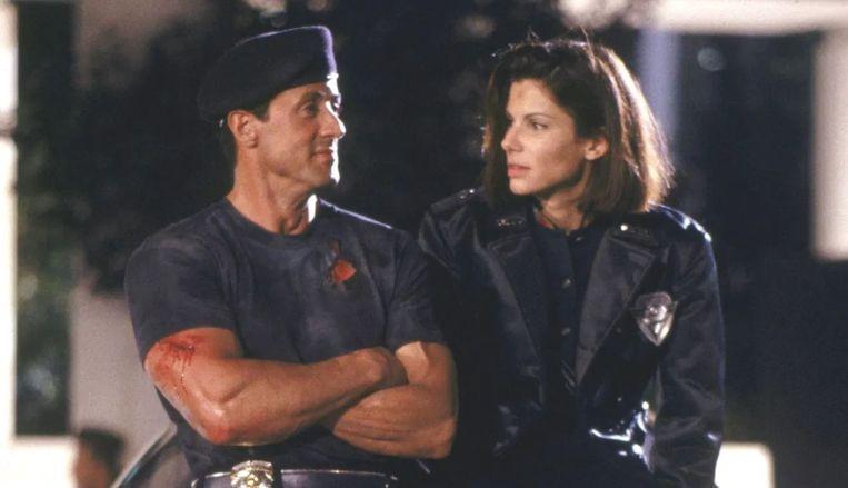 Sylvester Stallone en Sandra Bullock in Demolition Man. Beeld
