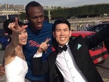 Japans stel houdt Bolt staande voor huwelijksfoto