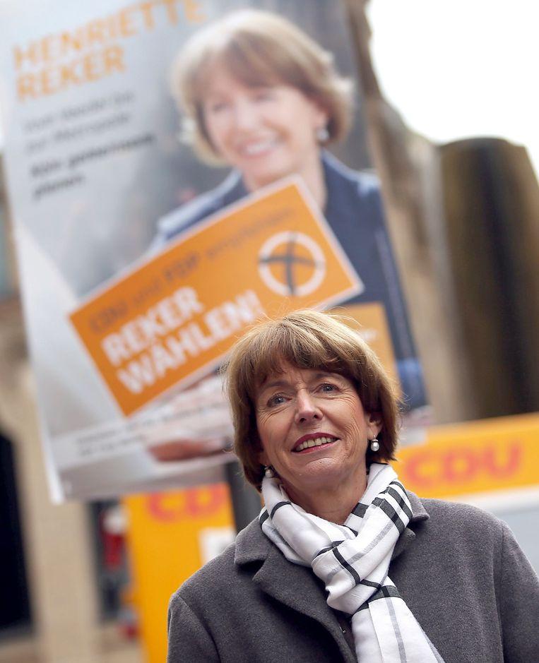 Henriette Reker tijdens haar verkiezingscampagne. Beeld afp