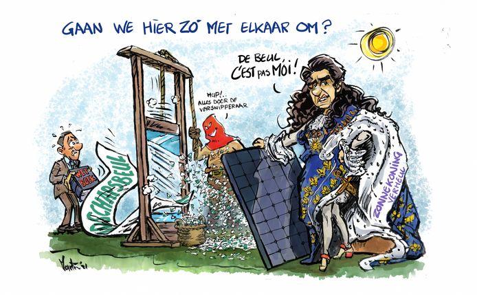 Cartoon bij spandoek-gate in Millingen, met wethouder Nelson Verheul.