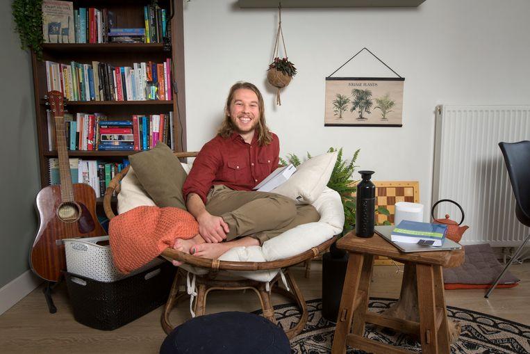 Ex-profvoetballer Jeroen van der Lely, nu student literatuurwetenschap. Beeld Jörgen Caris