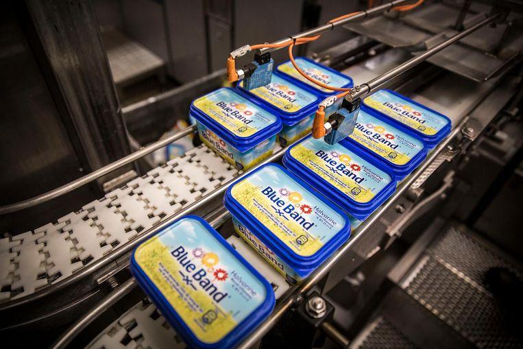 De productie in de margarinefabriek van Unilever in Rotterdam Beeld Arie Kievit